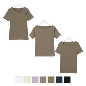 [Uネック/Vネック/Bネック]前身二重半袖Tシャツ