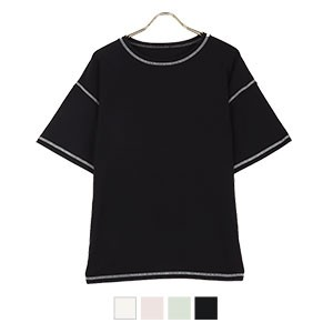 配色ステッチTシャツ