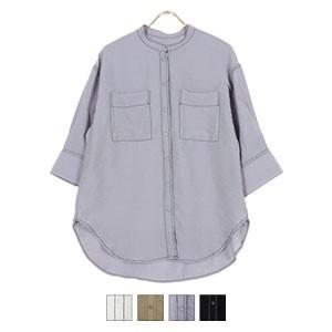 配色ステッチ半袖シャツ