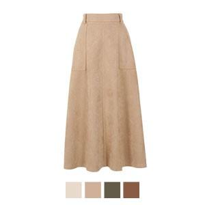 スウェードポンチセンターシームフレアスカート