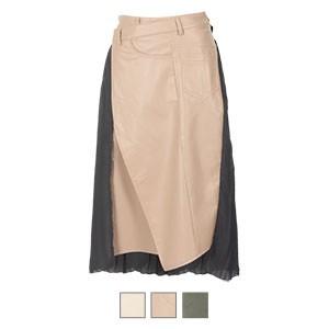 エコレザー×シフォンプリーツスカート