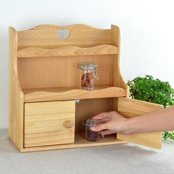 スパイスラック キッチン調味料ラック 扉付き 木製