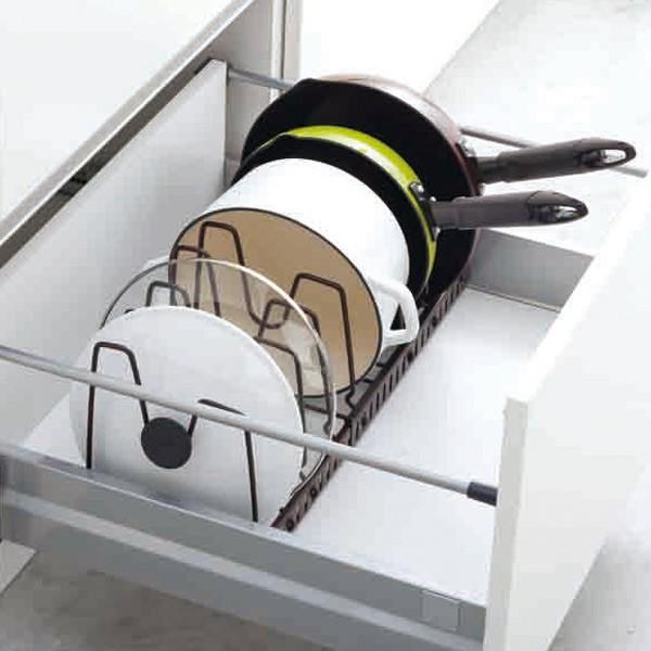 フライパン収納 伸縮式フライパン&鍋ブタスタンド ファビエ FV30