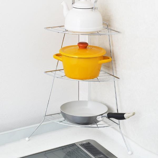 キッチンコーナーラック かたづく キッチン収納 コンロコーナーラック 3段 ステンレス製