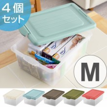 収納ボックス M 幅31×奥行45×高さ19cm A4 おもちゃ箱 収納 フタ付き 同色4個セット
