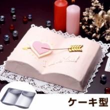 ケーキ型 ブック型 大 焼き型 スチール製 クロームメッキ