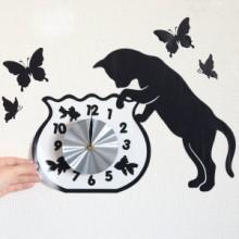 ウォールクロックステッカー ウォールステッカー 時計 猫 フィッシュボール Wall Clock Sticker