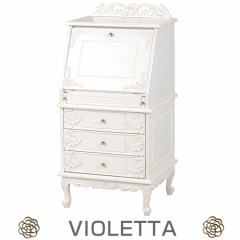 ライティングテーブル ヴィオレッタ 引き出し 3段 幅58cm ホワイト