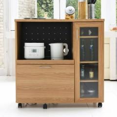 キッチンカウンター 食器棚 家電収納 キャスター付 北欧風 Keittio 幅90cm