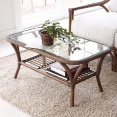 ガラステーブル ローテーブル ラタン製 Breeze 幅90cm