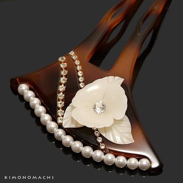 礼装 かんざし「べっ甲調 花モチーフ飾り付き」簪 パールビーズ ラインストーン 訪問着 留袖に 結婚式