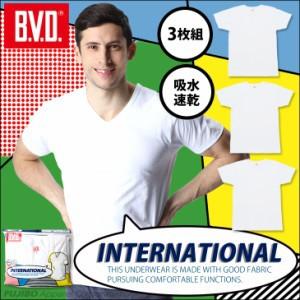 B.V.D. 定番Vネック半袖Tシャツ 無地 吸水速乾 gr474