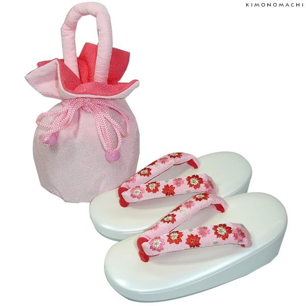 七五三 巾着、草履セット「ピンク色 無地巾着、刺繍鼻緒草履」16.5cm、18cm、21cm こども 女児小物 日本製 No.933ピンク