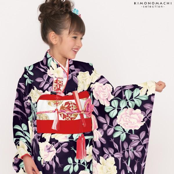 七五三 四つ身「黒色 薔薇」女の子の着物 Shikibu Classic 式部浪漫 7歳向け