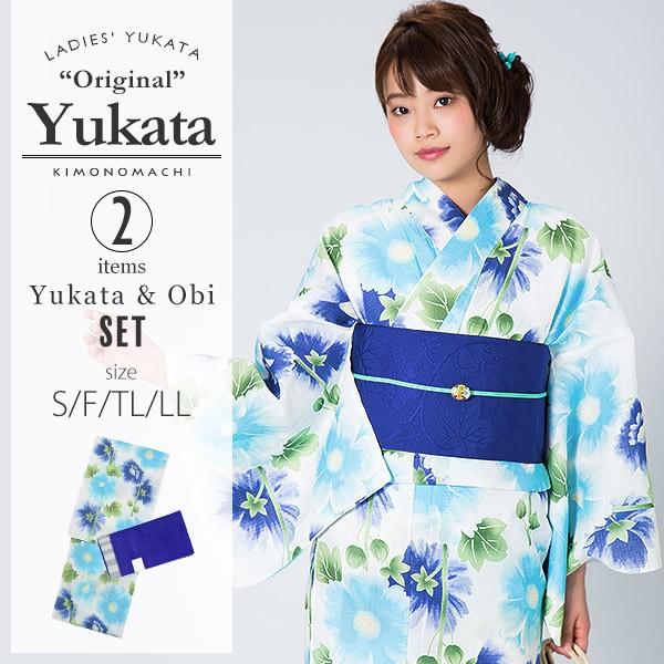 KIMONOMACHI 浴衣セット「ブルー タチアオイ」F(フリー),TL,LL 女性浴衣セット