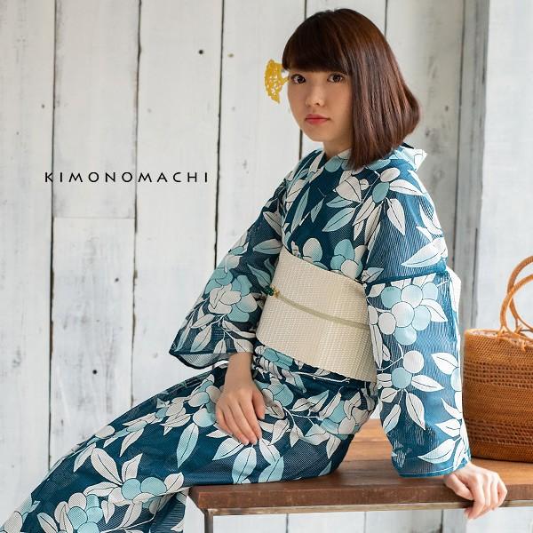 京都きもの町オリジナル 浴衣 レディース 「木の実 縹色(はなだいろ)」 綿絽 大人 個性的 花火大会 夏祭り 女性浴衣