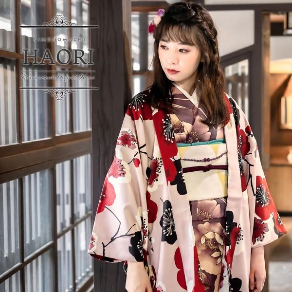 KIMONOMACHI オリジナル 羽織 単品「梅 ピンク」 ポリエステル