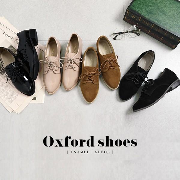 [エナメル スエード]アーモンドトゥオックスフォードマニッシュシューズ おじ靴