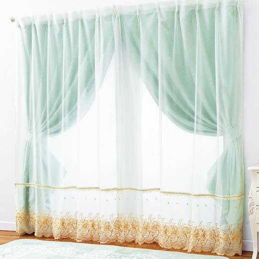 ゴージャス刺繍レース&ジャカード織遮光カーテンセット