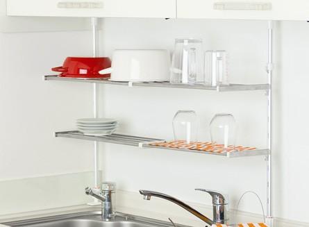 つっぱり棚 2段 伸縮式 幅50〜90cm ステンレス製 水切り棚 組立式