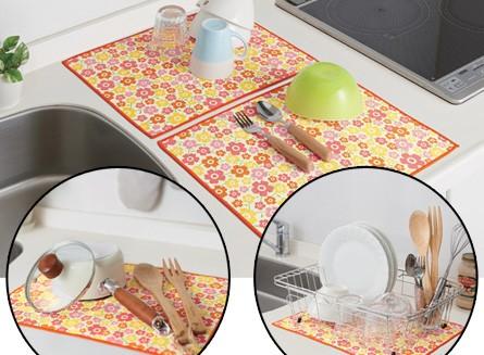 吸水水切りマット キッチンいろどり水切りマット 30×40 2枚入り