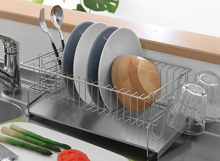 水切りラック お皿が並べられる水切り スリム ステンレス製 幅25cm 当店オリジナル商品