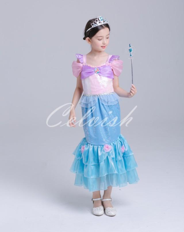 3b69be4ff989b 送料無料 アリエル風ドレス プリンセスドレス 子供 ドレス 衣装 ...