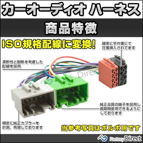 ISOカーオーディオ変換配線ケーブルAVインストールキットナビ取付キット