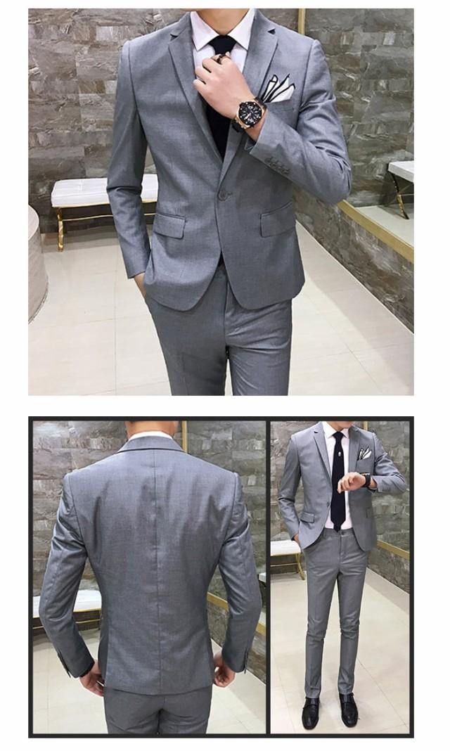 da6beb576d652 メンズスーツ 2ピース 紳士服 春夏物 パンツ ピーススーツ セットアップ ...