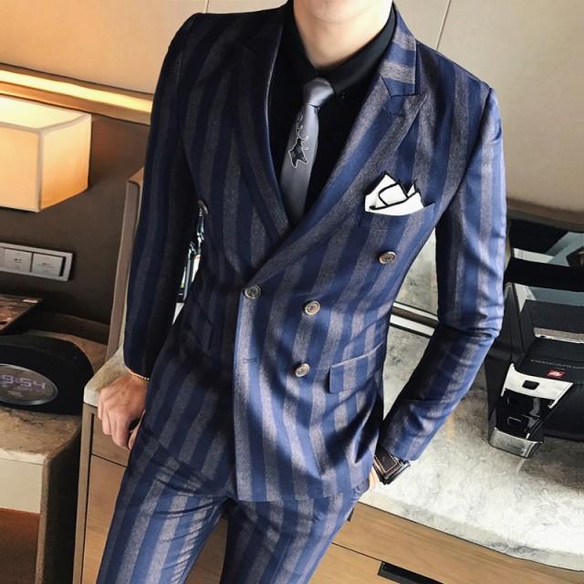 ストライプ メンズ格好いいスーツ 結婚式 二次会 披露宴 ビジネス