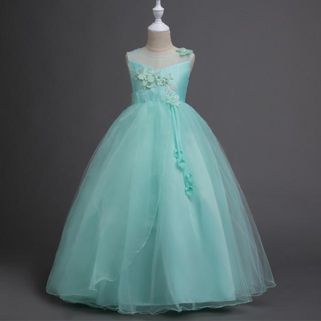 21c98440594ac ロングドレスにコサージュをあしらった、大人っぽくエレガントなドレスワンピース 子供服 ワンピース ノースリーブ フォーマル結婚式 発表会 七五三 子供服