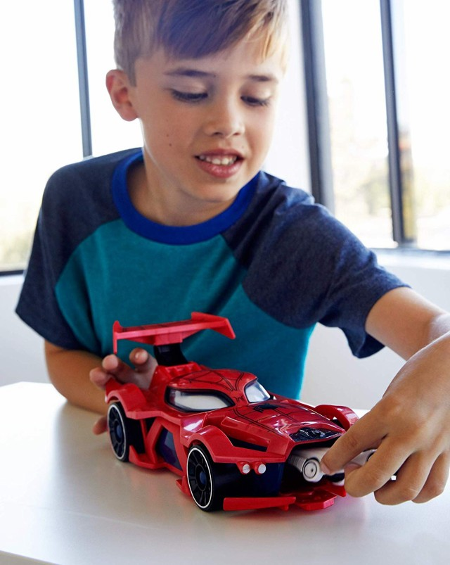 Hot Wheels Exclusive Spider Man Web Car Launcher Push Spoiler Windshield Moves
