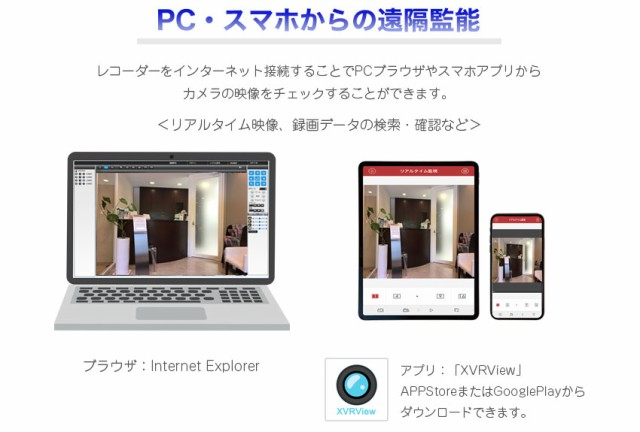 PC・スマホで遠隔監視できます。