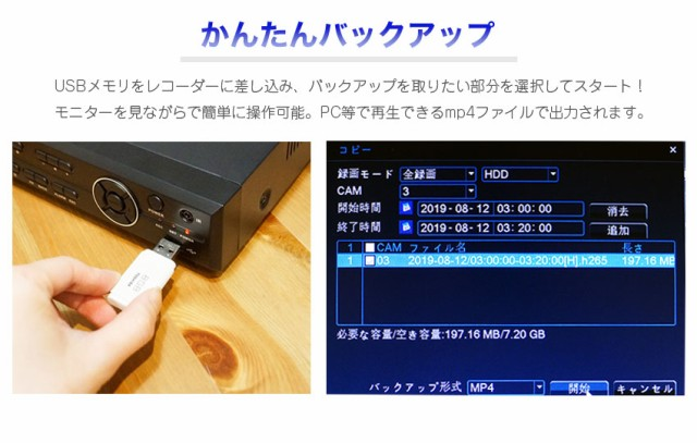 USBにバックアップ出力可能