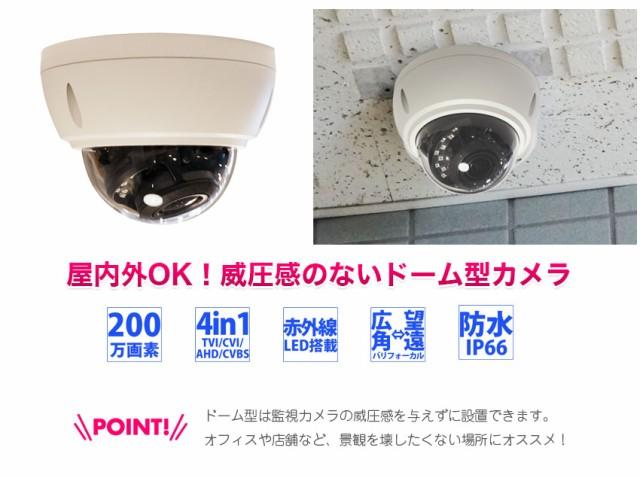 屋内外どちらでも使えるドームタイプのカメラです。