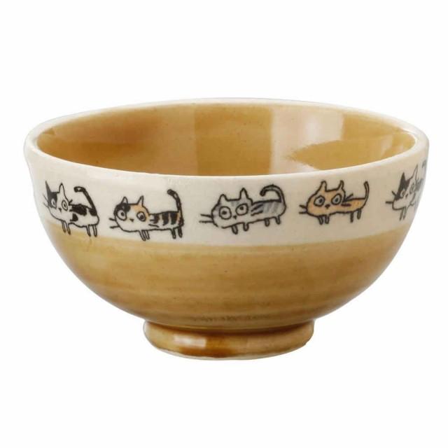 散歩猫飯碗・茶 K4381