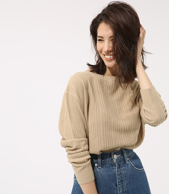 【AZUL BY MOUSSY】ボートネック変形リブプルオー...