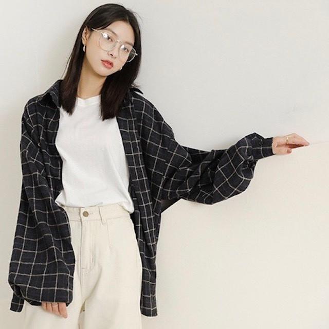 2018 秋新作 チェック シャツ キャンパス風 ルー...