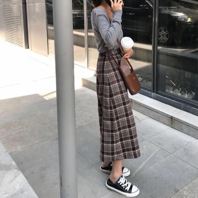秋新作 2018AW 大人かわいい スカート チェック ...