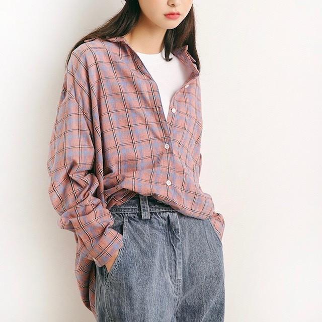 2018 秋新作 チェック シャツ くすみカラー 格子...