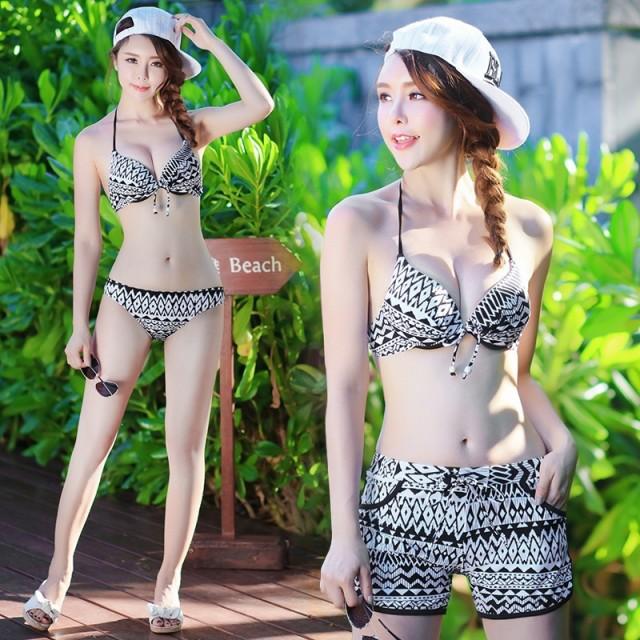 2色 4P ビキニ水着 キャミ+パンツ付き  ビーチ...