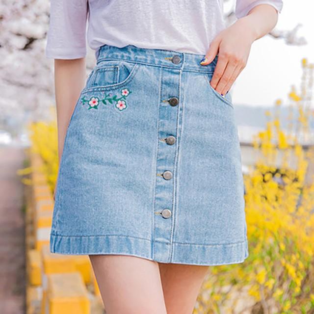 マイナス5キロスカート☆ ウエストの刺繍がポイ...