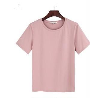 ピンク Tシャツ ハイウエスト シンプル ゆったり ...