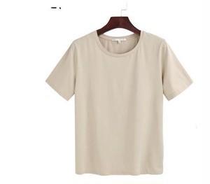 ベージュ Tシャツ ハイウエスト シンプル ゆった...