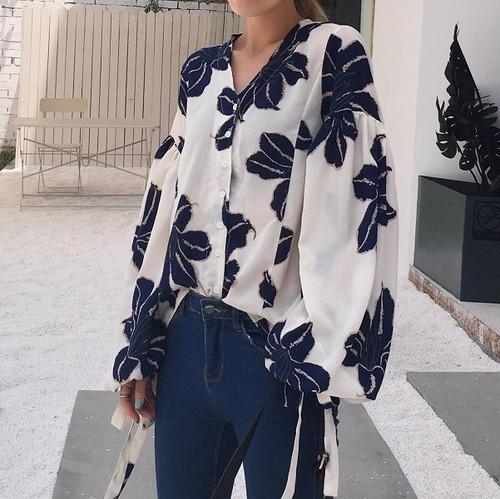 花柄 ブラウス バルーン袖 盛り袖 ホワイト