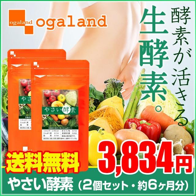 お徳用やさい酵素(2個セット・約6ヶ月分)送料無料 サプリ 生酵素 ドリンク エンザイム 酵素 ダイエット 野草 健康食品