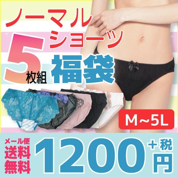 [★メール便OK]M〜5L ショーツ福袋 5枚セット レ...