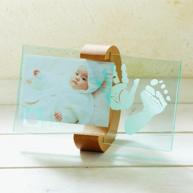 大決算ポイント5倍 【送料無料】【ベビー】【ちあき工房】ムーンフォトスタンド【赤ちゃん メモリアル 記念品 内祝い 手形 足型 フォトフ