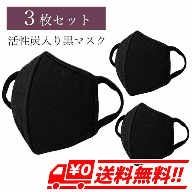 3枚セット 黒マスク 活性炭入り 三層 ブラックマ...