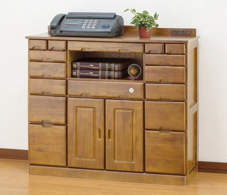 天然木 木製 マルチチェスト FAX台 電話台 (鍵・...